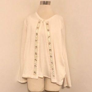 Sag Harbor White & Gold Sequins Knit Cardigan